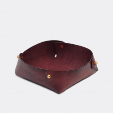 Кожаный лоток для мелочей Clover (бордо)