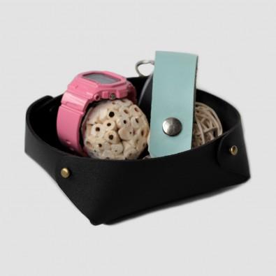 Кожаный лоток для мелочей Clover (черный)