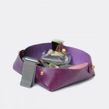 Кожаный лоток для мелочей Clover (фиолетовый)