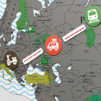 Магнитная скретч карта мира TrueMap Puzzle Silver