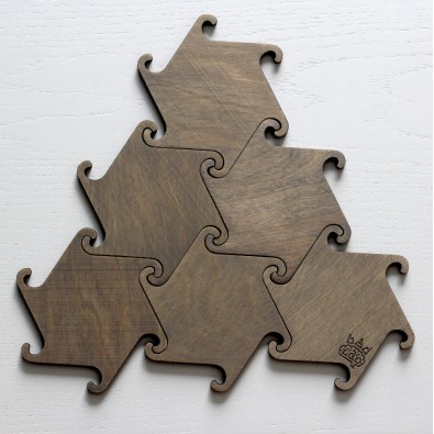 Набор деревянных подставок под горячее Hook (серый)