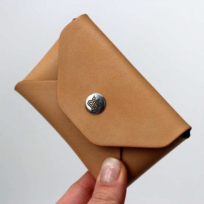 Кожаный кошелек для карточек Plick (песочный)