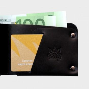 Кожаный кошелек с отделением для карт Optima (черный)