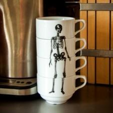 Набор из 4х чашек со скелетом Bone Cups