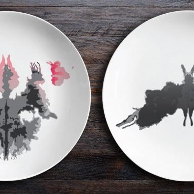 Набор керамических тарелок Ужин с Роршахом (Гаргульи/Мотылек)