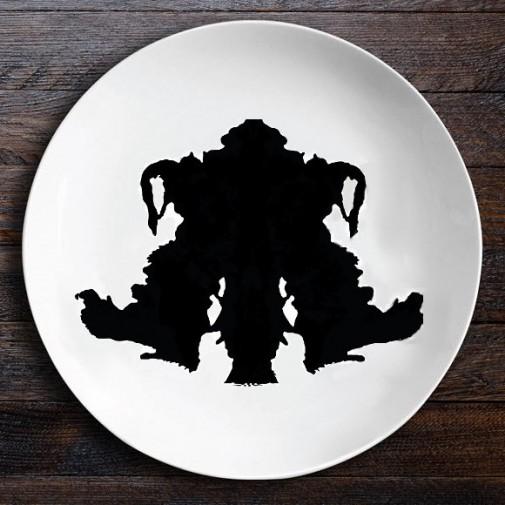 Набор керамических тарелок Ужин с Роршахом (Близнецы/Байкер)