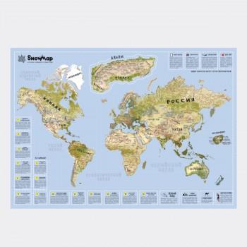 Карта горнолыжных курортов со скретч слоем SnowMap