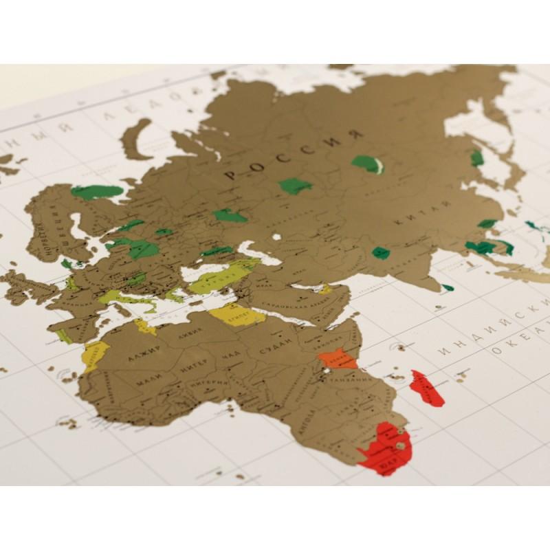 Стирающаяся скретч карта мира True Map